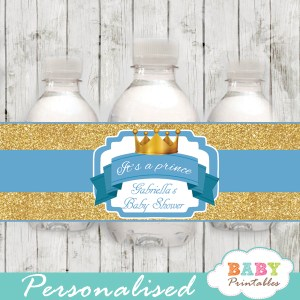 royal baby boy prince personalized baby shower water bottle labels