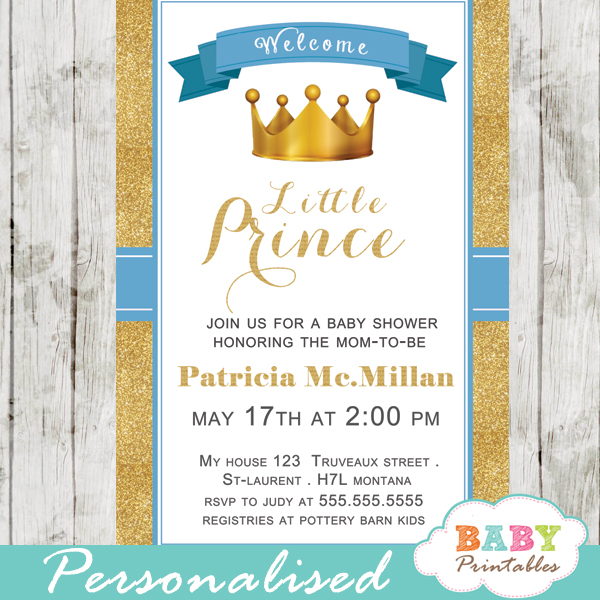 Blue and Gold Royal Prince Baby Shower Invitation D270 Baby
