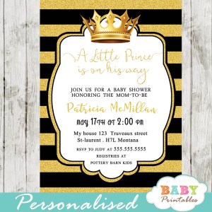 black and gold royal themed baby shower invitations