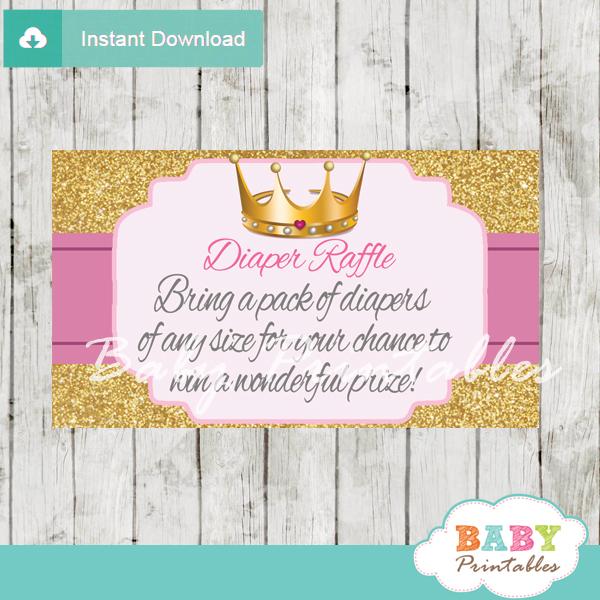 Pink And Gold Royal Princess Diaper Raffle Tickets