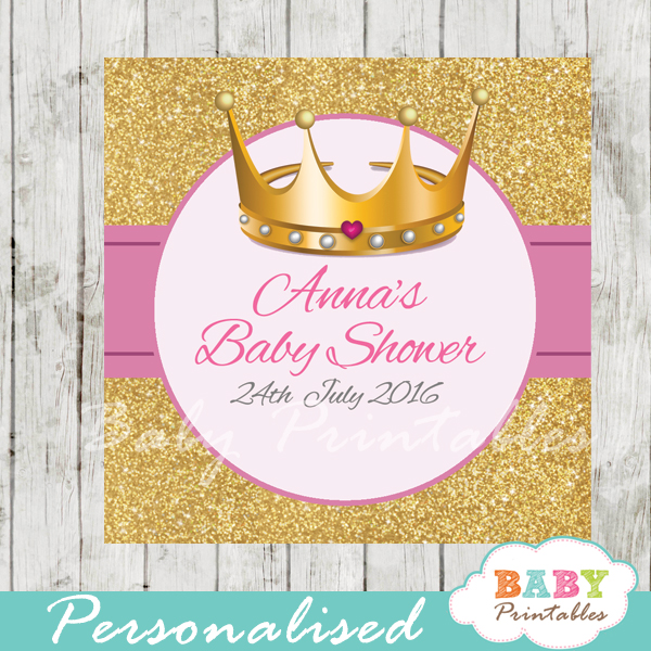 280-Pink-Gold-Royal-Princess-Baby-Shower-tags-and-labels Printable Baby Shower Favor Tags