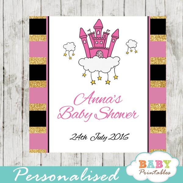 pink princess printable baby shower gift tags