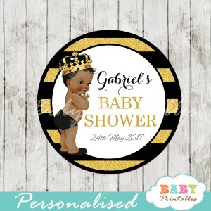black gold african american prince personalized baby shower favor tags