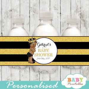african american baby boy prince personalized baby shower water bottle labels