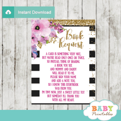 watercolor pink floral black and white striped book request cards invitation inserts