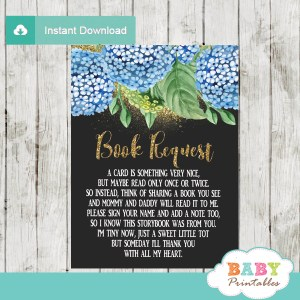 Blue Hydrangeas floral book request cards invitation inserts gold glitter