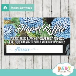 blue Hydrangeas flowers purple floral diaper raffle tickets gold sprinkles