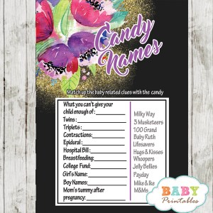 watercolor purple floral baby shower games spring garden theme candy bar name