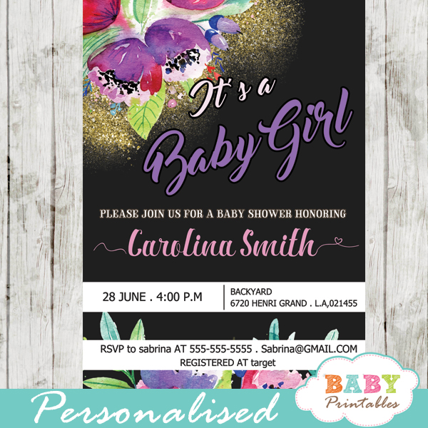 lavender flowers garden baby shower invitations spring floral green black and gold sparkles it's a baby girl