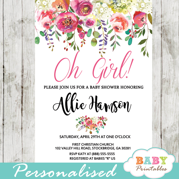 white pink watercolor flowers garden baby shower invitations spring flowers green black and gold glitter it's a girl
