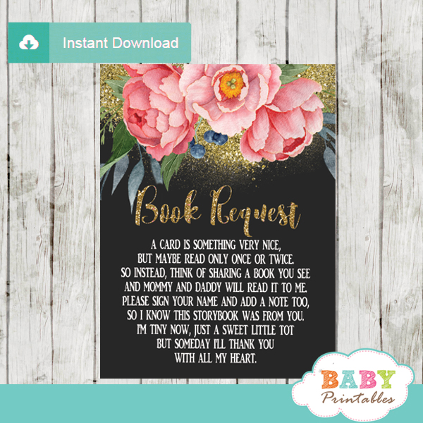 watercolor pink peony floral book request cards invitation inserts gold glitter