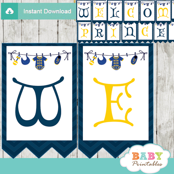 royal blue personalized little prince baby shower banner diy