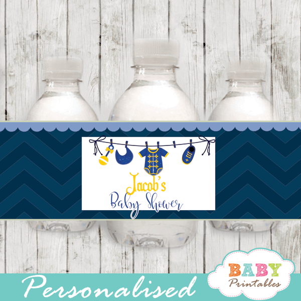 royal blue little prince baby shower water bottle labels