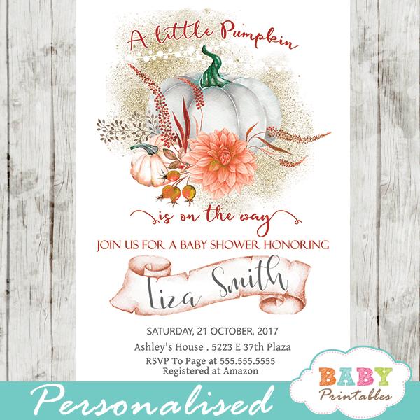 pumpkin baby shower invitations fall autumn arrangement