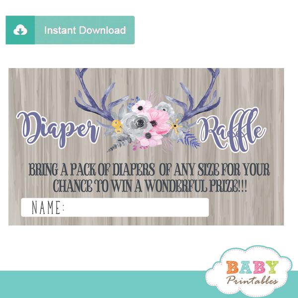 watercolor floral deer antlers diaper raffle tickets rustic wood grey pink
