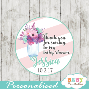 watercolor floral pink turquoise custom mason jar labels