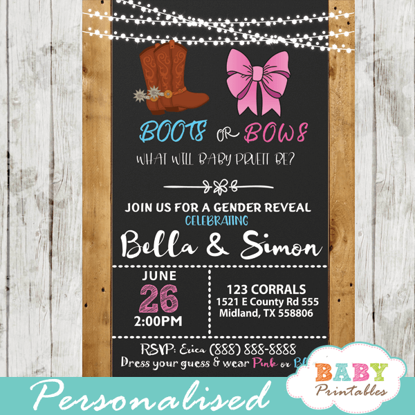 boots or bows gender reveal invitations barn wood western