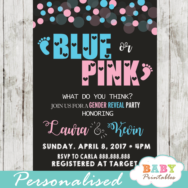 pink or blue baby footprints gender reveal invitations