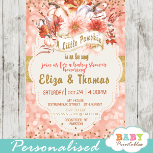 coral bokeh pumpkin baby shower invitations gold glitter ribbon orange fall invites