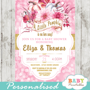 pink bokeh pumpkin baby shower invitations gold glitter ribbon fall invites