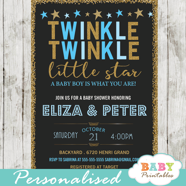Boy twinkle twinkle little star baby shower invitations blue d350 twinkle twinkle little star baby shower invitations decorations theme blue boy filmwisefo Gallery
