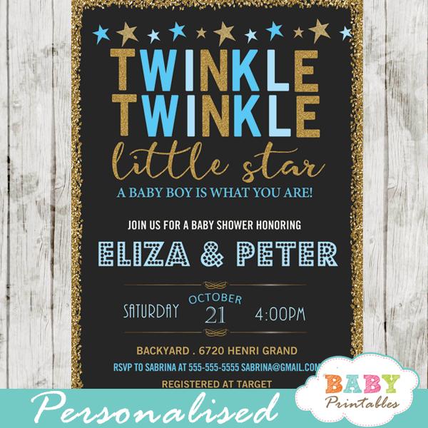 twinkle twinkle little star baby shower invitations decorations theme blue boy