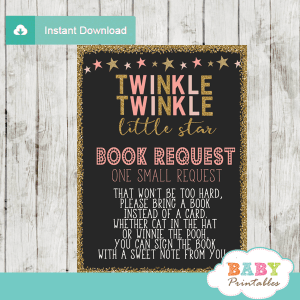 twinkle twinkle little star baby shower book request cards decorations theme pink girl