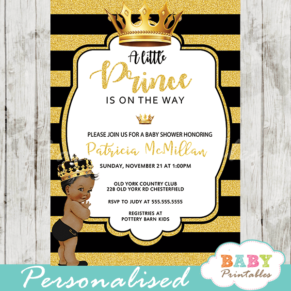 African American Black And Gold Little Prince Baby Shower Invitations U2013 D274