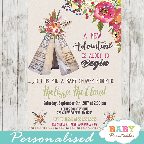 floral tribal teepee baby shower invitations boho feather girl theme garden bouquet