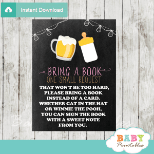 pink girl beer bbq baby shower book request cards