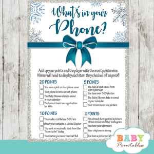 winter wonderland baby it's cold outside baby shower games winter wonderland teal blue silver gray snowflakes ribbon with bow boy
