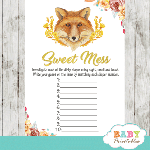 woodland autumn floral gold yellow fox baby shower games