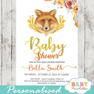 Woodland themed baby shower invitations baby printables fall mums fox baby shower invitations d347 filmwisefo Choice Image