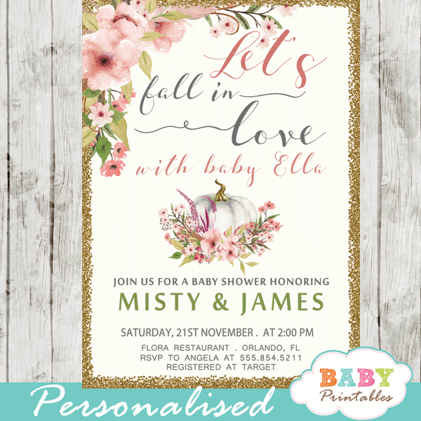 Fl Blush Pink Fall In Love Baby Shower Invitations D341