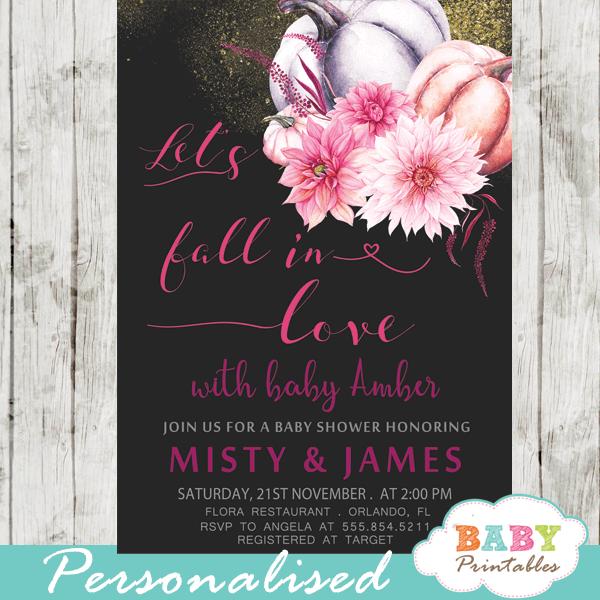 Fl Fuchsia Pink Fall In Love Baby Shower Invitations D345