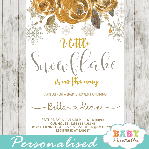 winter snowflake baby shower invitations metallic gold flowers gender neutral
