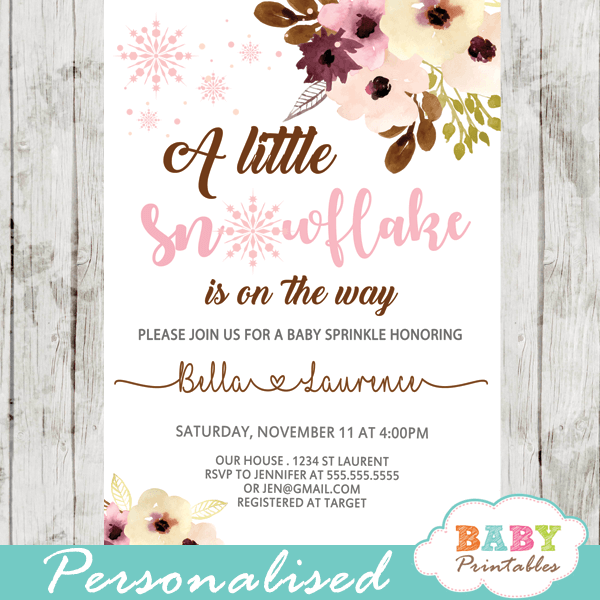 winter snowflake baby shower invitations blush peach Bordeaux flowers girl baby shower