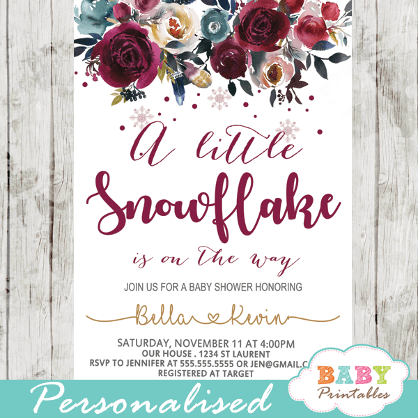 winter snowflake baby shower invitations burgundy silver gold flowers girl