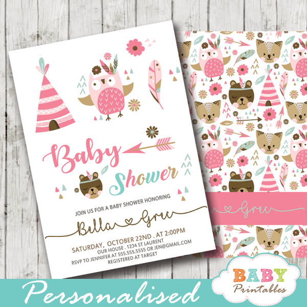 tribal woodland baby girl shower invitations pink feather boho arrow forest animals