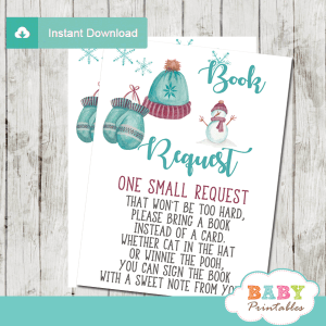 vintage winter book request cards baby it's cold outside wonderland invitation inserts boy turquoise burgundy