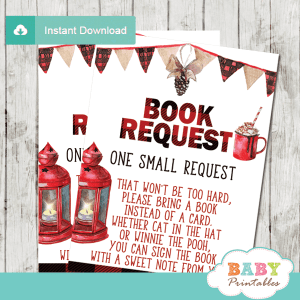 holiday winter wonderland book request cards baby it's cold outside baby shower boy