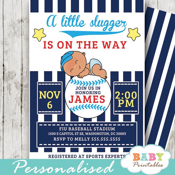 Blue Baseball Baby Shower Invitations D390
