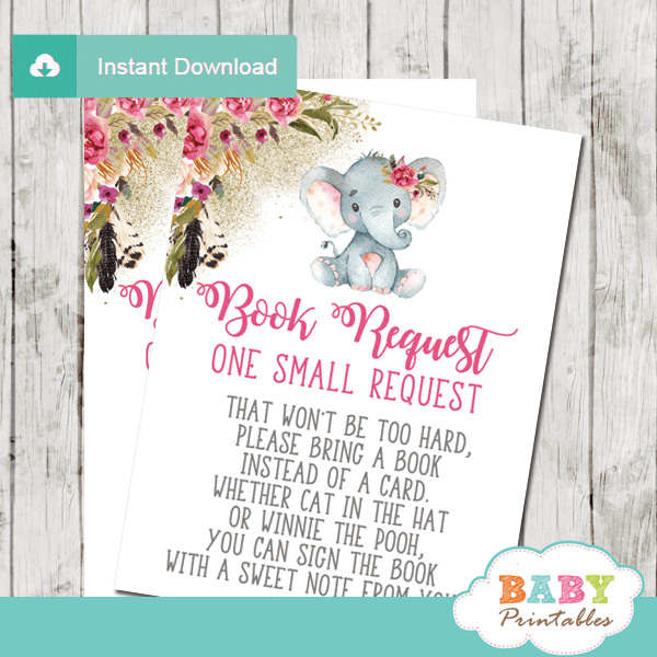 boho feathers floral elephant book request cards invitation inserts pink girl
