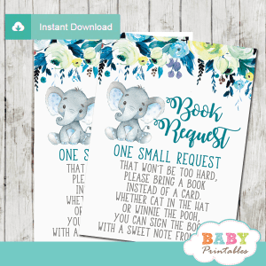 elephant book request cards floral boy invitation inserts teal blue