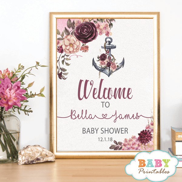 Floral Burgundy Nautical Baby Shower Sign D201 Baby Printables