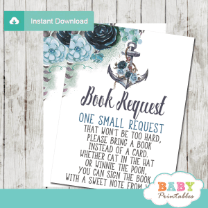 floral blue rustic anchor invitation inserts nautical book request cards boy