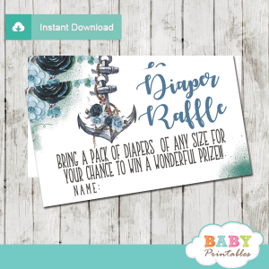 nautical diaper raffle tickets floral blue rustic anchor boy