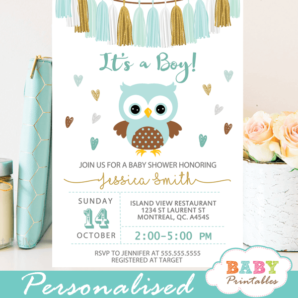 Tiffany blue owl baby shower invitations d129 baby printables gold tiffany blue owl baby shower invitations boy tassel garland filmwisefo Image collections