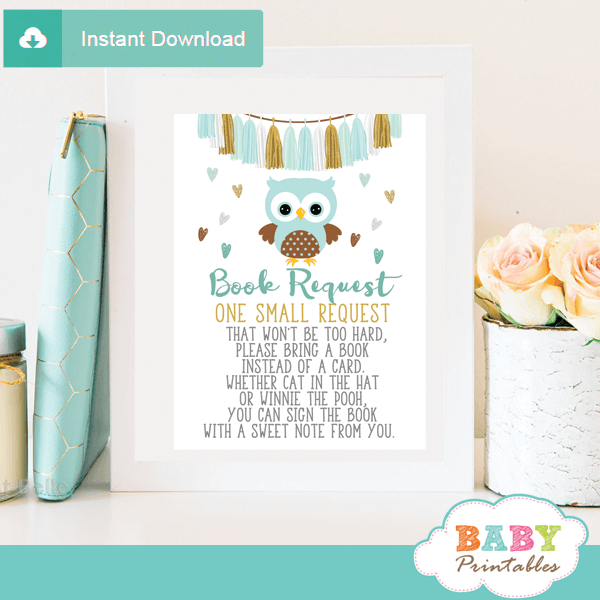 tiffany blue owl baby book request cards boy invitation inserts