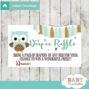 tiffany blue owl diaper raffle tickets boy baby shower tassel garland gold